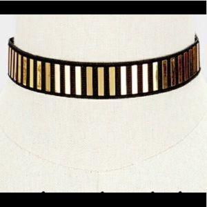 Reflective Gold Embellished Choker